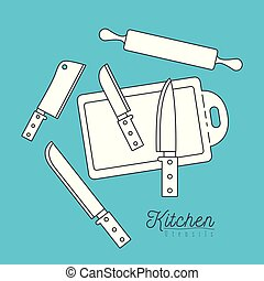color background with set silhouette group of kitchen utensils knifes and cutting board with roll