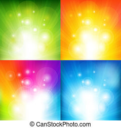 Color Backgrounds With Beams - 4 Color Backgrounds With...