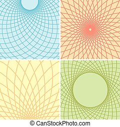 color backgrounds with curved grids - vector set
