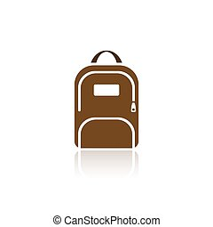 Color backpack icon with reflection on white background
