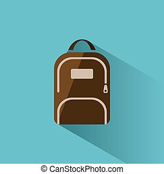 Color backpack icon with shadow on blue background