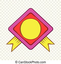Color badge with yellow ribbons icon cartoon style