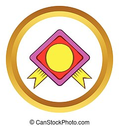 Color badge with yellow ribbons vector icon