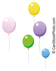 ballon - color ballons float in a white background