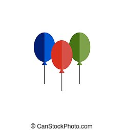Color balloon flat vector icon