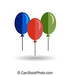 Color balloon flat vector icon on white