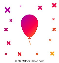 Color Balloon with ribbon icon isolated on white background. Gradient random dynamic shapes. Vector Illustration