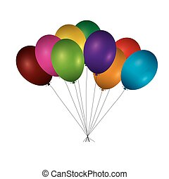 Color Balloons isolated on white background. Vector Illustration.