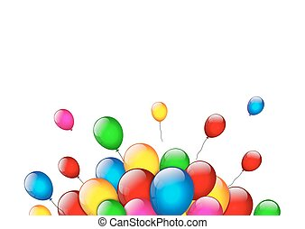 Color balloons on white background