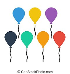 Color balloons on white background.