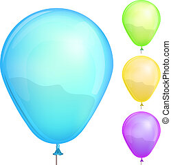 Color balloons set isolated on white background vector...