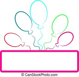 Color balloons silhouette isolated on white background