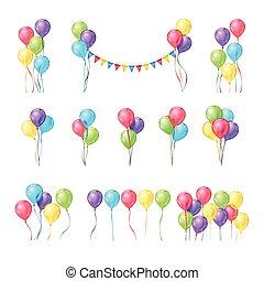 Color balloons vector set