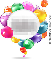 Color Balloons With Speech Bubble