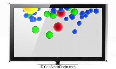 Color balls flies off HD TV  - Color balls flies off HD TV