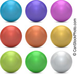 Color balls vector set isolated on white background.