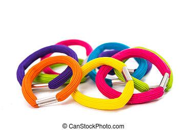 color, bandas, pelo, elástico