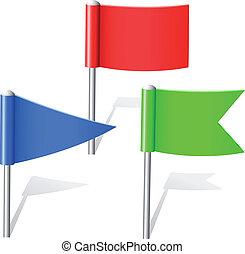 color, bandera, alfileres