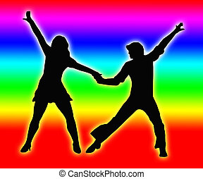 Color Bands Back Dancing Couple 70s - Color bands Back...