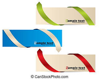 Color banner set with different bent ribbons