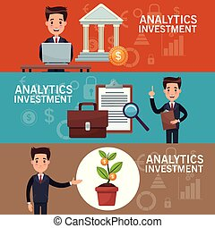 color banners analytics investment with set of businessman in presentation