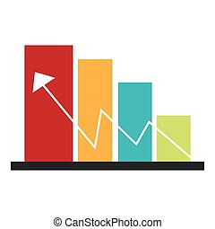 color bar graphic with economic indicator line arrow