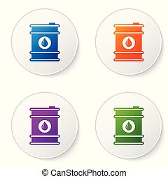 Color Barrel oil icon isolated on white background. Set color icon in circle buttons. Vector Illustration