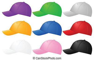 color baseball caps - Color baseball caps ob white ...
