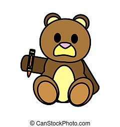 color bear teddy cute toy with crayon