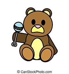 color bear teddy cute toy with rattle