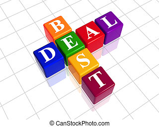 3d colour cubes with white letters like crossword with text - best deal