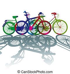 color, bicicleta, silueta, punto