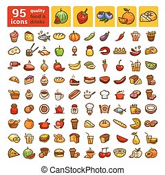 color big food icons set 2