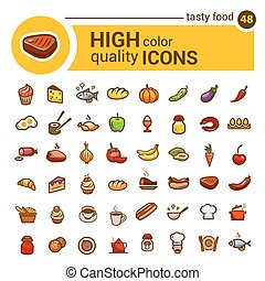 color big  food icons set