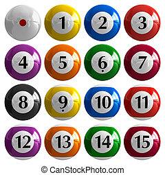 color, billiard, norteamericano, conjunto, pelotas