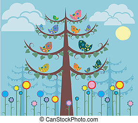 Color birds on the tree