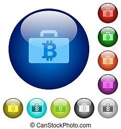 Color bitcoin bag glass buttons