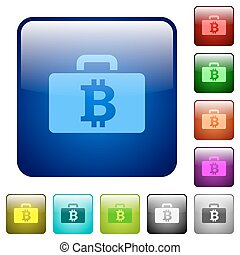 Color Bitcoin bag square buttons