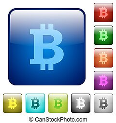 Color bitcoin sign square buttons