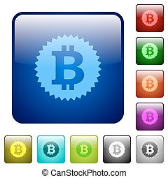 Color bitcoin sticker square buttons