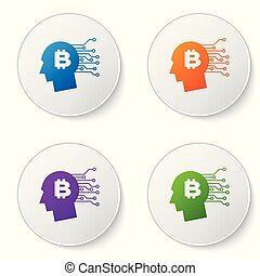 Color Bitcoin think icon isolated on white background. Cryptocurrency head. Blockchain technology, bitcoin, digital money market, cryptocoin wallet. Set icons in circle buttons. Vector Illustration