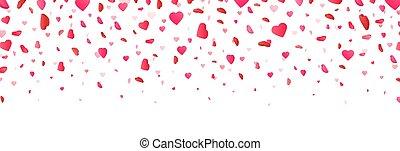 color, blanco, fondo., tarjetas., forma, caer, corazón,...