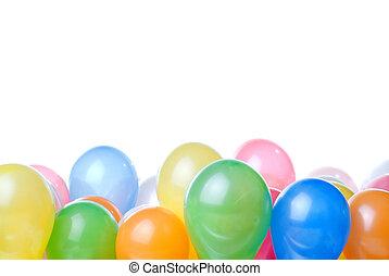 color, blanco, globos, aislado