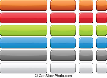 Color blank buttons. - Blank rectangular color buttons. ...