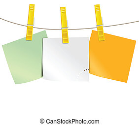 Color blank paper pieces on rope