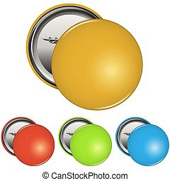 Color Blank Pin Button Badge Set