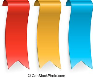 Color blank ribbon labels isolated on white background.