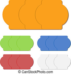 Color blank sticky paper price tags isolated on white.