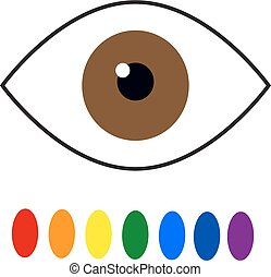Color blindness. Eye color perception. Seven colors of the rainbow. Vector illustration on isolated background