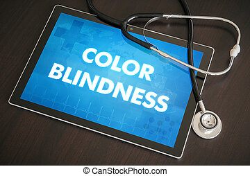 Color blindness (genetic disorder) diagnosis medical concept on tablet screen with stethoscope